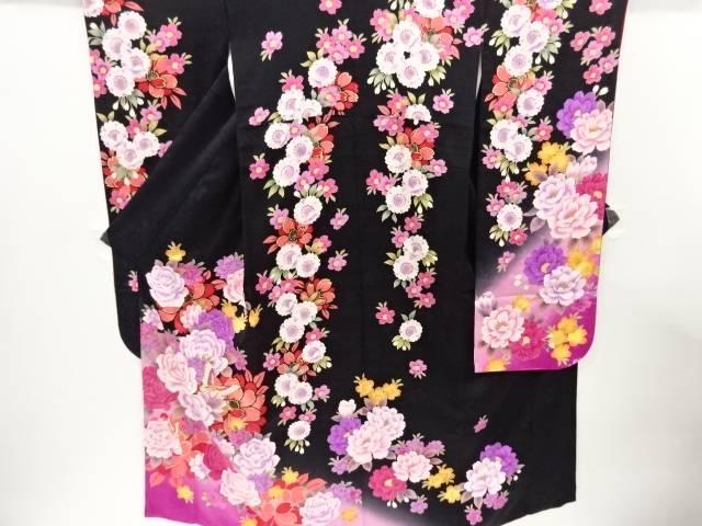 蝶に薔薇模様刺繍振袖 長襦袢・袋帯セット【リサイクル】【中古】【着】 宗sou