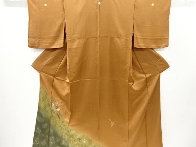 花鼓模様刺繍三つ紋単衣訪問着【リサイクル】【中古】【着】 宗sou