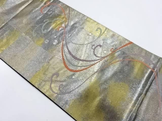 抽象波に市松模様織出し袋帯【リサイクル】【中古】【着】 宗sou
