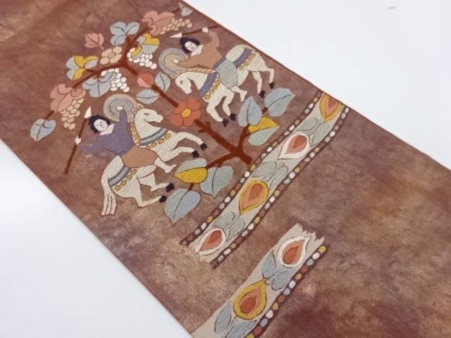 向かい動物に草花・人物模様織出し袋帯【リサイクル】【中古】【着】 宗sou