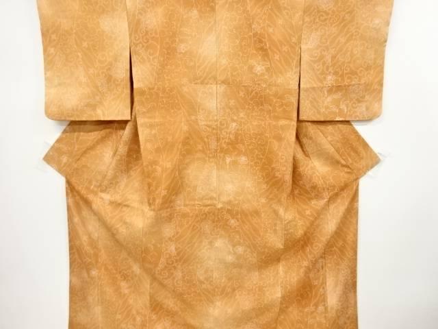 立涌に花唐草模様手織り真綿紬着物【リサイクル】【中古】【着】 宗sou