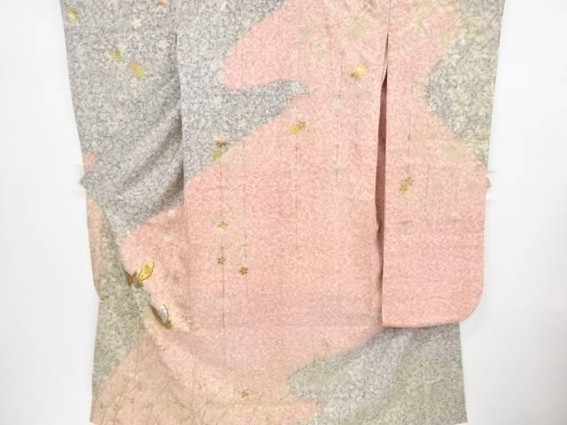 変わり織り箔置き蝶に萩模様刺繍振袖【リサイクル】【中古】【着】 宗sou