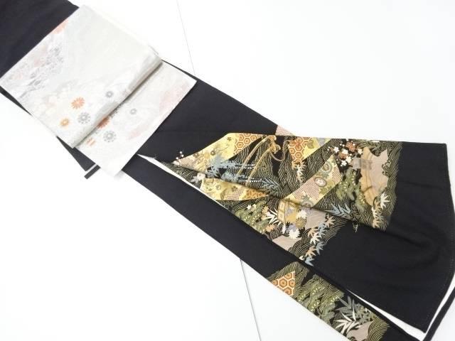 金彩花車に短冊・古典柄留袖(比翼付き) 袋帯セット【リサイクル】【中古】【着】 宗sou