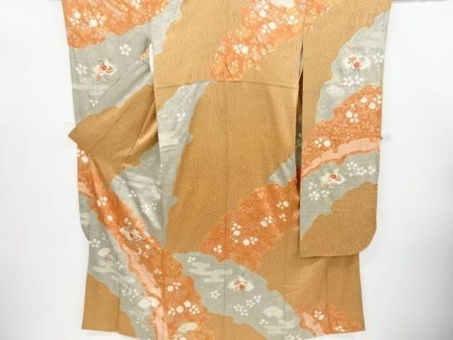 金彩板締め絞り雪輪に地紙・菊模様刺繍振袖【リサイクル】【中古】【着】 宗sou