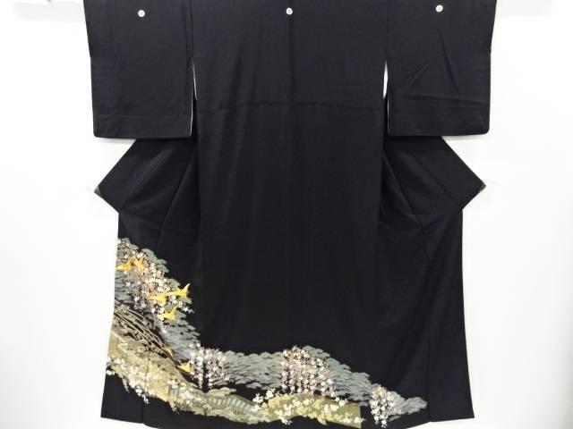 金彩友禅松梅桜に群鶴模様刺繍留袖(比翼付き)【リサイクル】【中古】【着】 宗sou