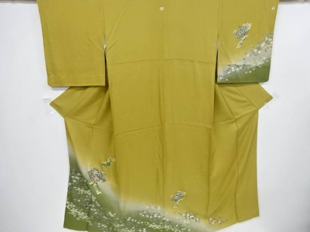 短冊に牡丹・橘・桜模様一つ紋訪問着【リサイクル】【中古】【着】 宗sou