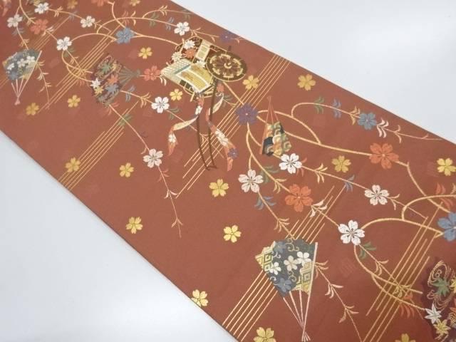 御所車に枝垂れ桜・扇模様織出し袋帯【リサイクル】【中古】【着】 宗sou