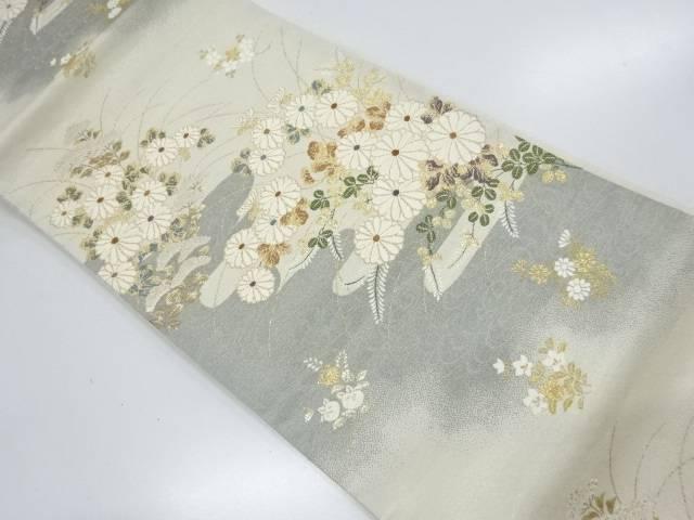 秋草に観世水模様織出し袋帯【リサイクル】【中古】【着】 宗sou