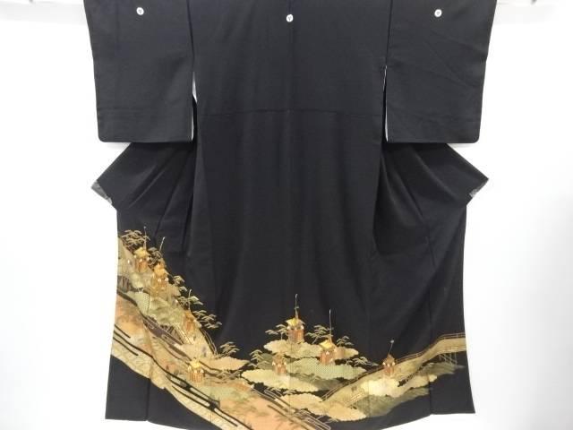 箔置き橋に鉾車模様刺繍留袖(比翼付き)【リサイクル】【中古】【着】 宗sou