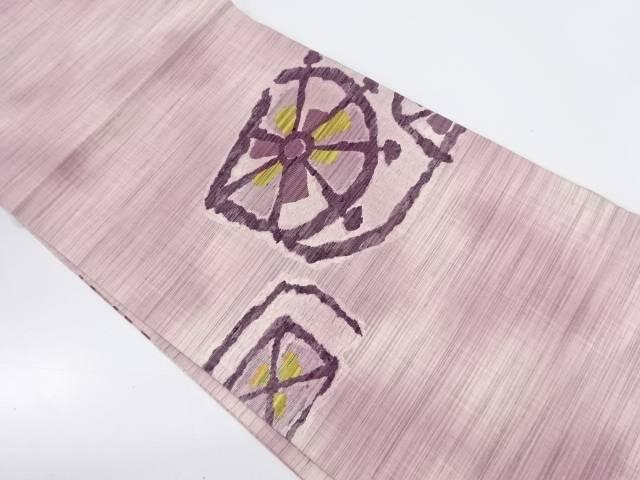 手織り紬花模様織出し暈し開き名古屋帯(額縁仕立て)【リサイクル】【中古】【着】 宗sou