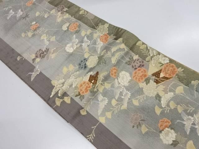 屋敷に牡丹・花鳥模様織出し袋帯【リサイクル】【中古】【着】 宗sou