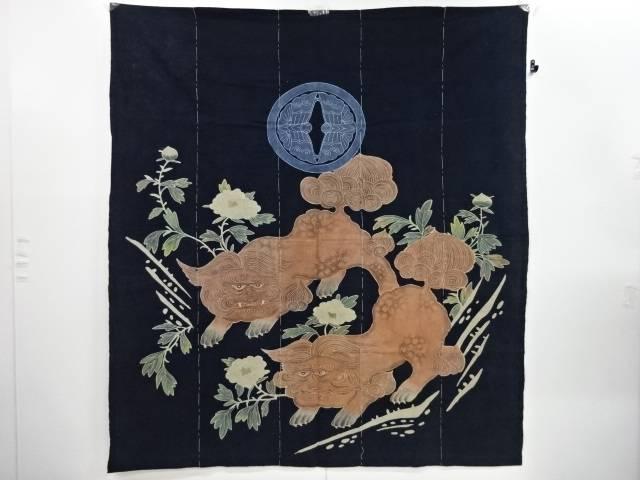 木綿筒描き唐獅子牡丹模様5巾【アンティーク】【中古】【着】 宗sou