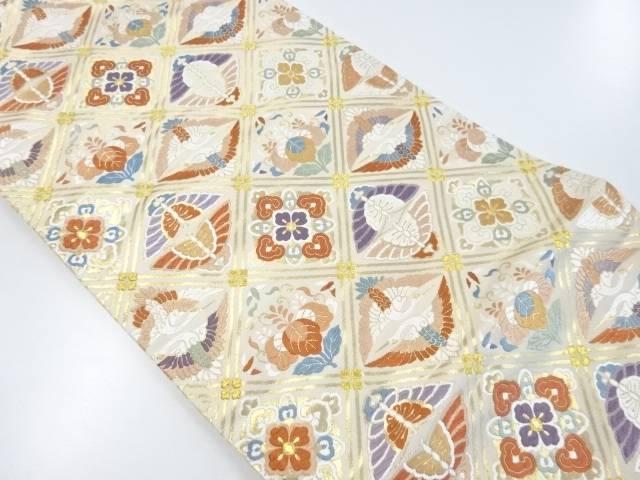 本金向かい鶴・蝶に華紋織り出し袋帯【リサイクル】【中古】【着】 宗sou