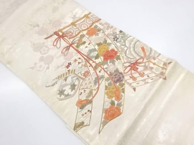 相良刺繍几帳に古楽器・玉手箱模様袋帯【リサイクル】【中古】【着】 宗sou
