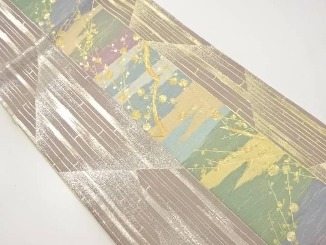 金銀糸竹縞に枝梅模様織り出し袋帯【リサイクル】【中古】【着】 宗sou