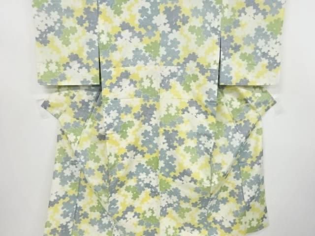 桜尽くし模様織り出し手織り真綿紬着物【リサイクル】【中古】【着】 宗sou