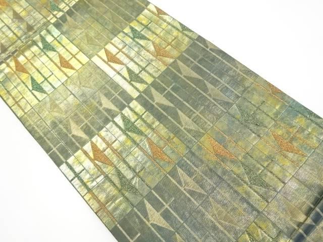 HIROKO KOSHINO 引箔変わり格子模様織り出し全通袋帯【リサイクル】【中古】【着】 宗sou