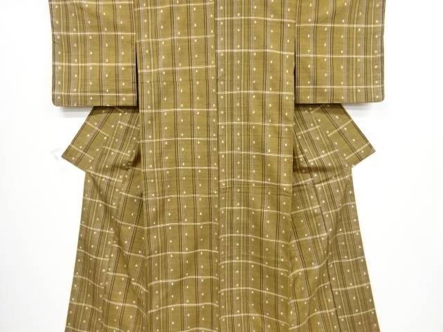 未使用品 格子に枡模様織り出し手織り真綿紬着物【リサイクル】【着】 宗sou