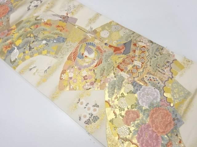 地紙に山鉾・花鳥模様織出し袋帯【リサイクル】【中古】【着】 宗sou