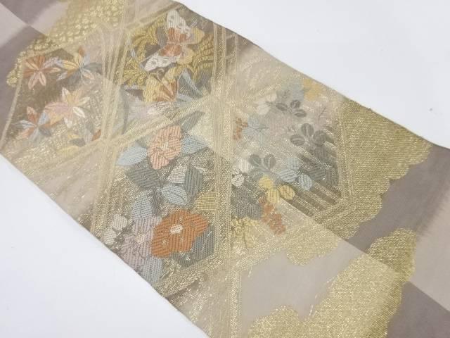 紗 秋草に蝶模様織出し袋帯【リサイクル】【中古】【着】 宗sou