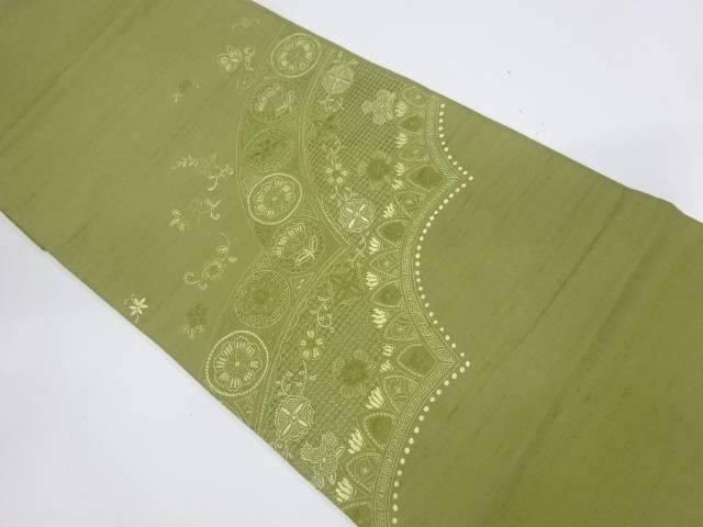 手織り紬相良刺繍草花模様袋帯【リサイクル】【中古】【着】 宗sou