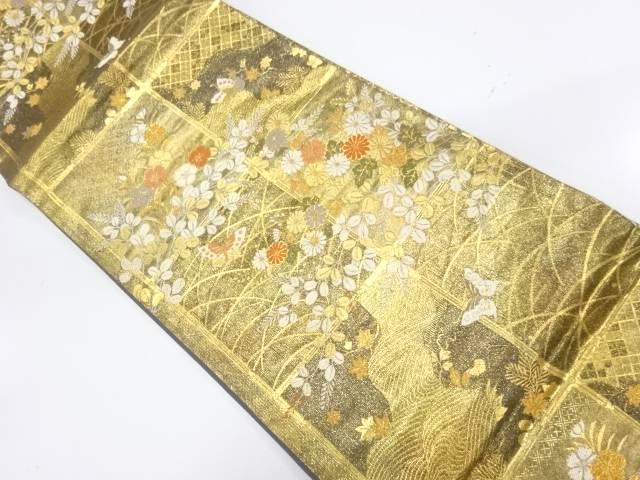 万葉花集織り出し袋帯【リサイクル】【中古】【着】 宗sou