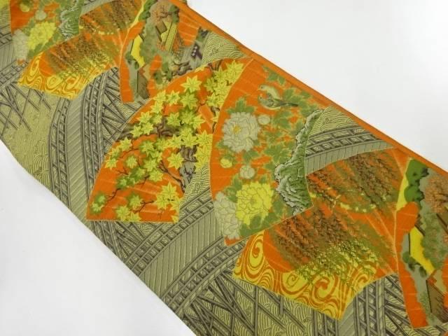 萬葉製 地紙に花鳥・橋模様織出し全通袋帯【リサイクル】【中古】【着】 宗sou