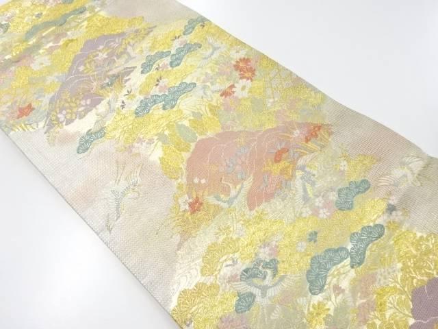 金銀糸鶴に草花・笠松模様織り出し袋帯【リサイクル】【中古】【着】 宗sou