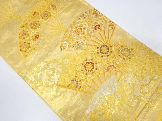扇面に華紋・古典柄模様織出し袋帯【リサイクル】【中古】【着】 宗sou