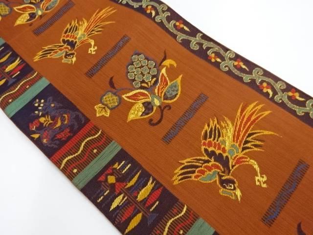 抽象動物・花鳥模様織出し洒落袋帯【リサイクル】【中古】【着】 宗sou