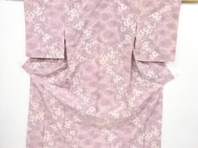 草花模様織出手織り真綿紬単衣着物【リサイクル】【中古】【着】 宗sou