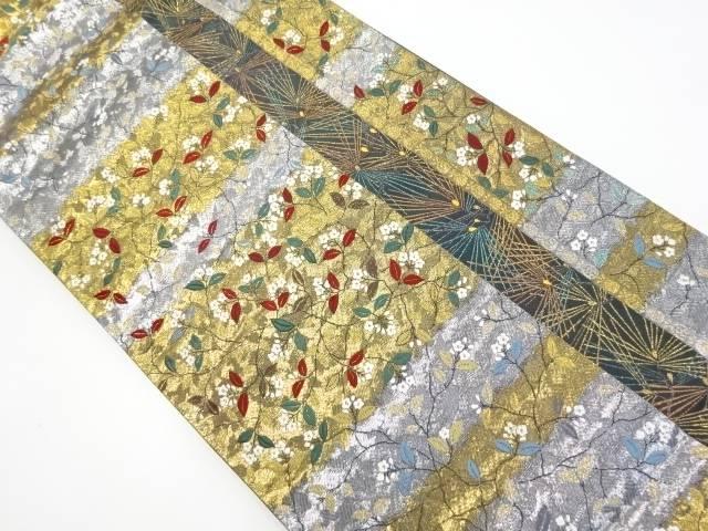 金銀糸横段に枝花模様織り出し袋帯【リサイクル】【中古】【着】 宗sou