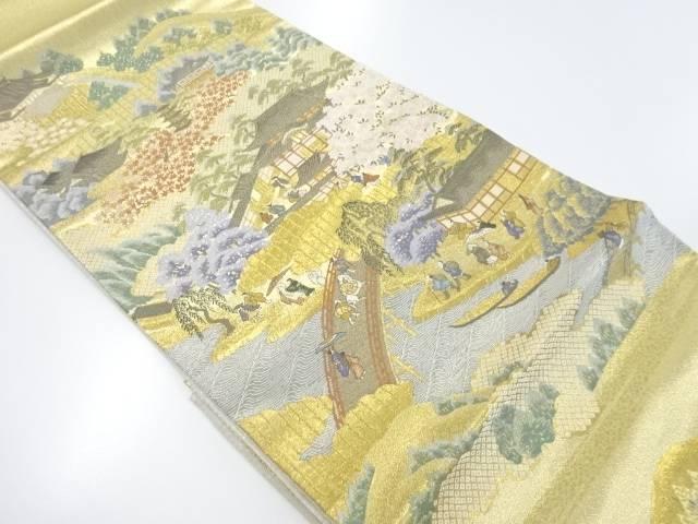 未使用品 本金京風景に時代人物模様織り出し袋帯【リサイクル】【着】 宗sou