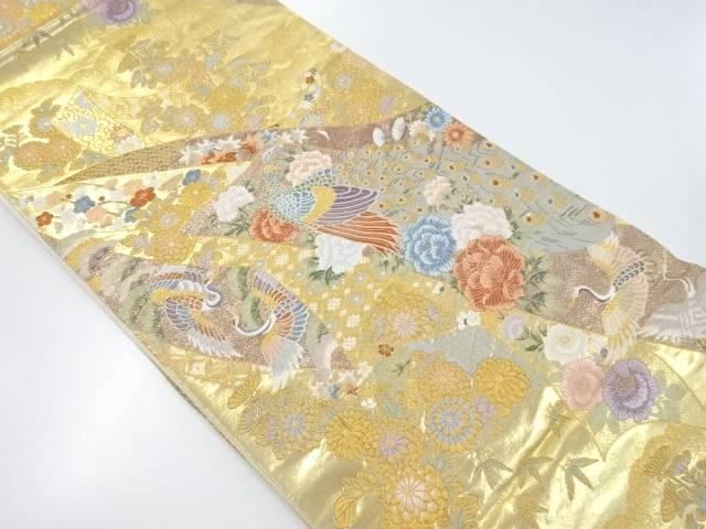本金箔熨斗に花鳥模様織り出し袋帯【リサイクル】【中古】【着】 宗sou