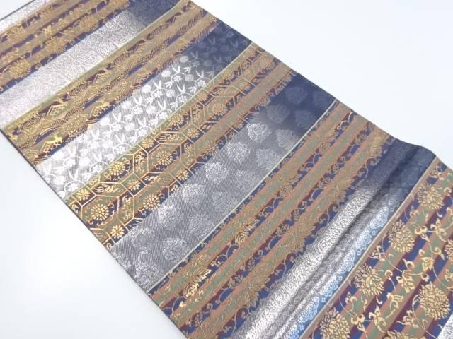 金銀糸横段に名物裂織り出し袋帯【リサイクル】【中古】【着】 宗sou