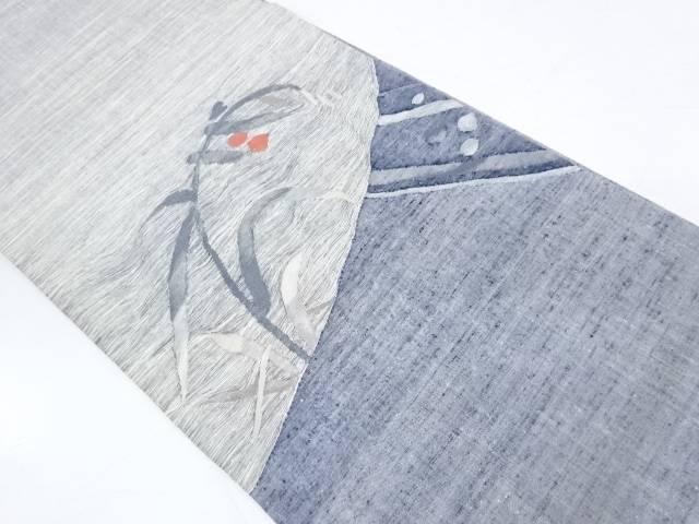 手織り紬草花模様織出し袋帯【リサイクル】【中古】【着】 宗sou