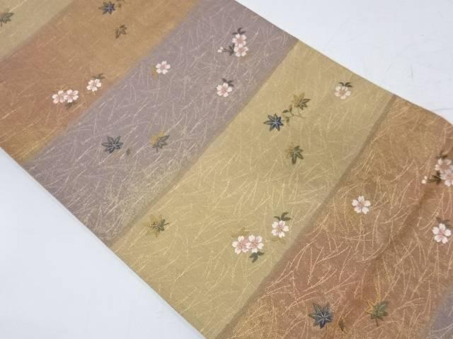 横段に桜・紅葉模様織出し袋帯【リサイクル】【中古】【着】 宗sou