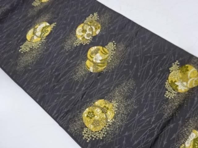 松に草花模様織出し袋帯【リサイクル】【中古】【着】 宗sou