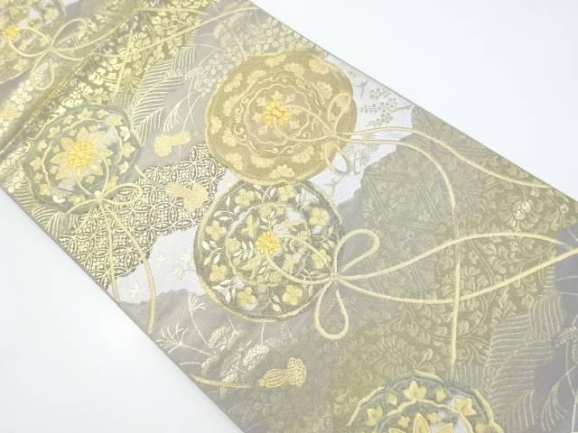 服部織物製 金糸鏡裏に華紋織出袋帯【リサイクル】【中古】【着】 宗sou