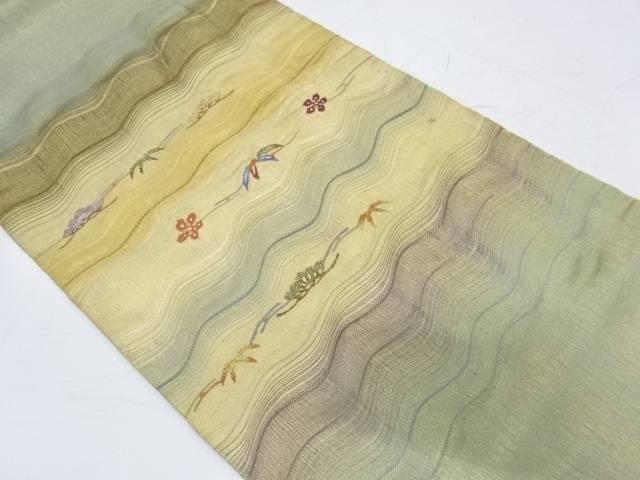 よろけ横段に松竹梅模様織出し袋帯【リサイクル】【中古】【着】 宗sou