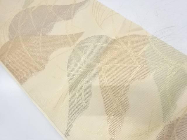 絽紗山並みに草葉模様織出し袋帯【リサイクル】【中古】【着】 宗sou