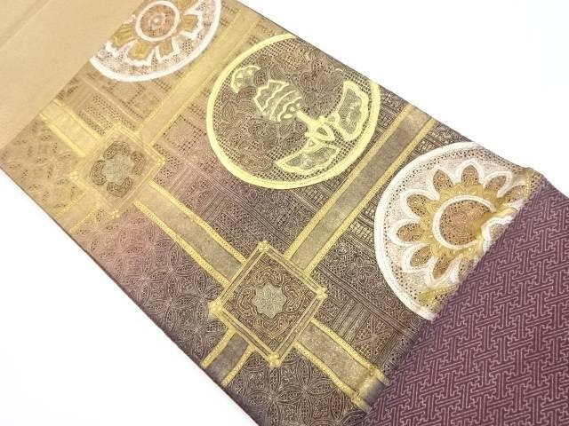 汕頭蘇州刺繍格天井に華紋更紗模様袋帯【リサイクル】【中古】【着】 宗sou