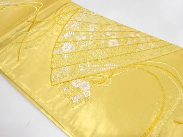 扇に草花・青海波模様織出し袋帯【リサイクル】【中古】【着】 宗sou