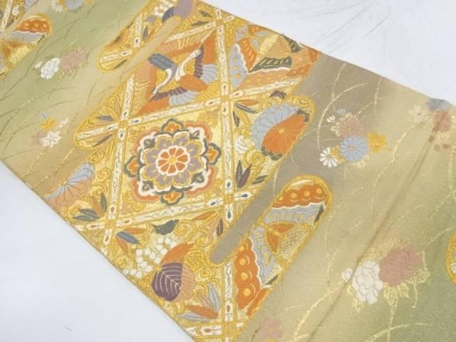 唐織向かい鶴に花・蝶模様織出し袋帯【リサイクル】【中古】【着】 宗sou