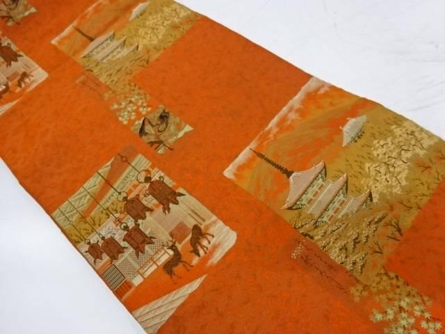 萬葉製 色紙に寺院風景模様織出し全通袋帯【リサイクル】【中古】【着】 宗sou