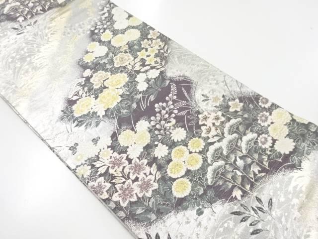 金銀糸牡丹に秋草模様織り出し袋帯【リサイクル】【中古】【着】 宗sou