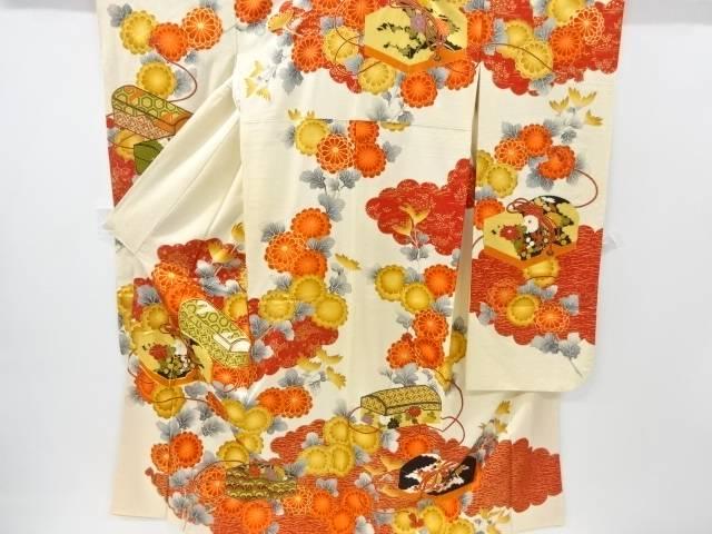 文箱に菊・古典柄模様刺繍振袖【リサイクル】【中古】【着】 宗sou