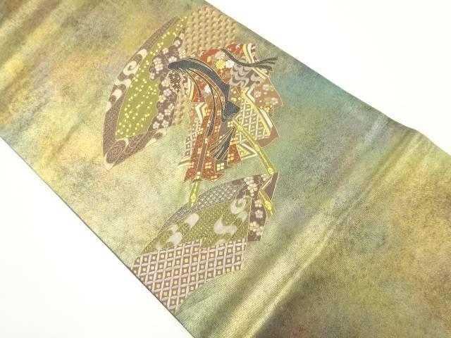 汕頭蘇州刺繍地紙に十二単模様袋帯【リサイクル】【中古】【着】 宗sou
