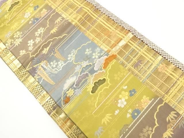 金糸雲取りに四季草花模様織り出し袋帯【リサイクル】【中古】【着】 宗sou