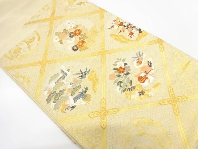 綴れ格天井に花鳥模様織出し袋帯【リサイクル】【中古】【着】 宗sou